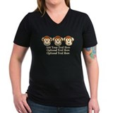 Monkey Womens V-Neck T-shirts (Dark)