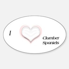 I heart Clumber Spaniels Oval Decal