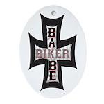 Biker Babe Oval Ornament