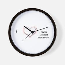 I heart Curly-Coated Retrievers Wall Clock