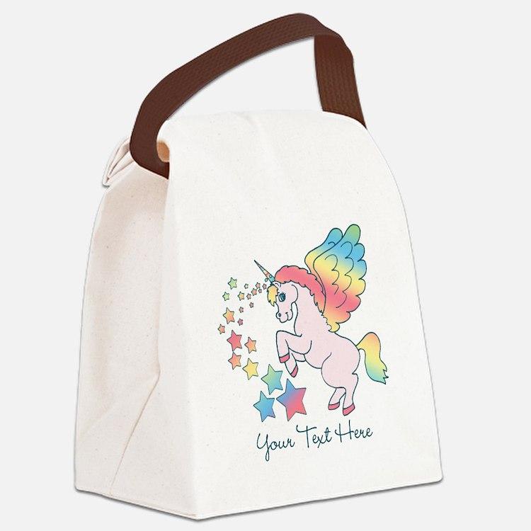 Unicorn Rainbow Star Canvas Lunch Bag