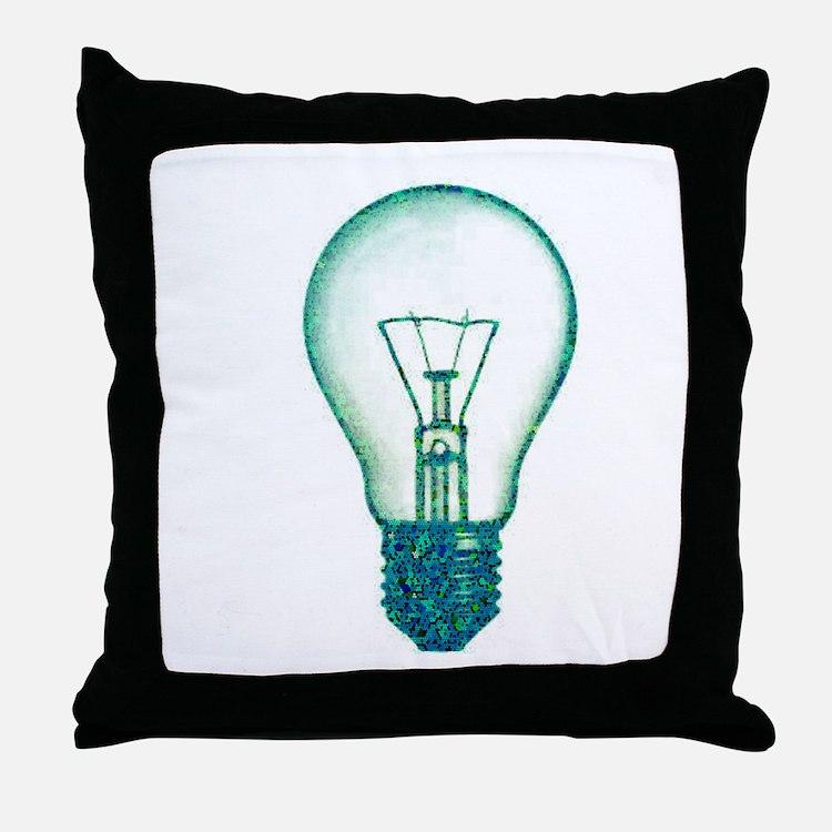 light bulb lamp pixel Throw Pillow