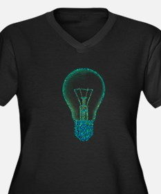 light bulb lamp pixel Women's Plus Size V-Neck Dar