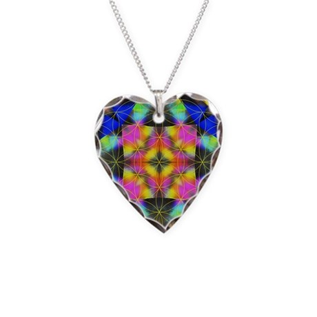 Flower of Life Mandala Necklace Heart Charm