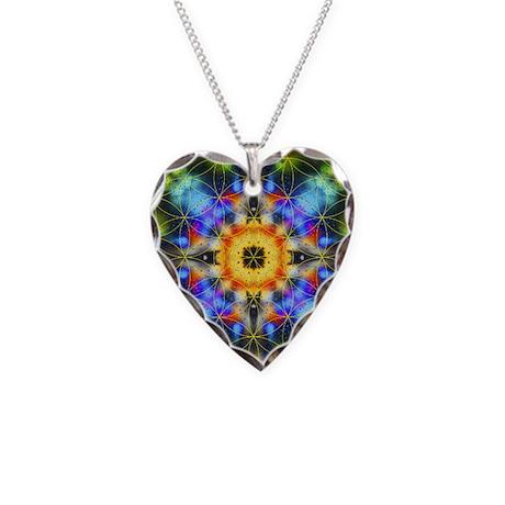 Flower of Life Mandala Necklace Heart Charm