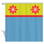 Pretty Stripes and Flowers Shower Curtain