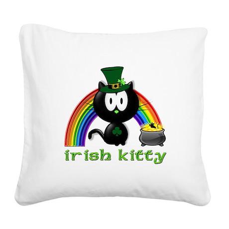 irish kitty Square Canvas Pillow