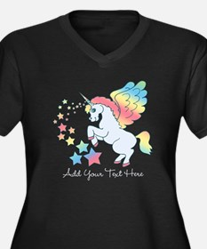 Unicorn Rainbow Star Women's Plus Size V-Neck Dark