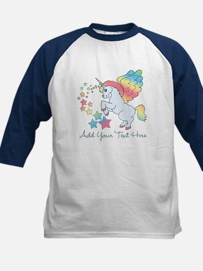 Unicorn Rainbow Star Kids Baseball Jersey