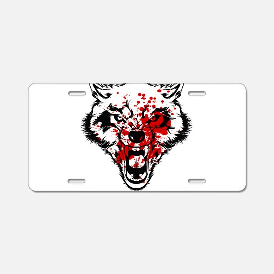 Bloody Wolf Aluminum License Plate