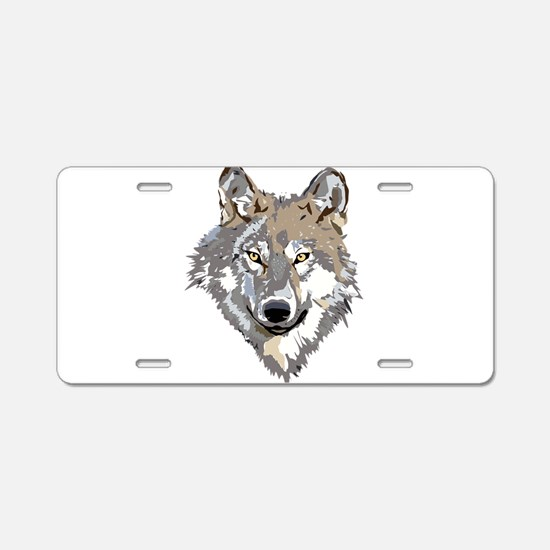 Wolf Aluminum License Plate