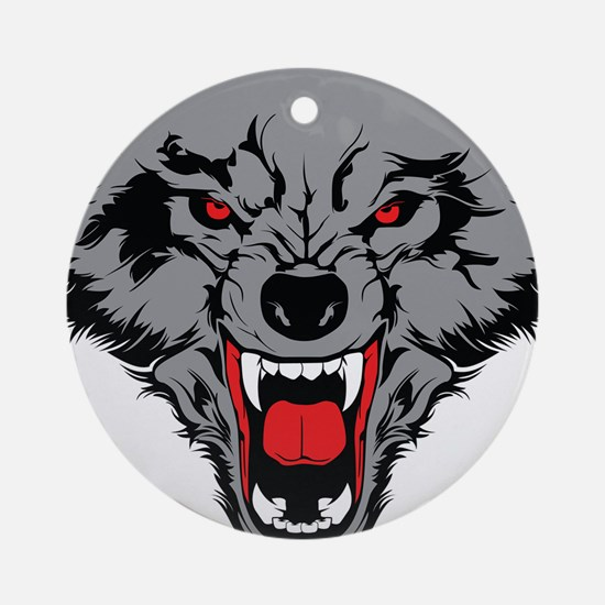 Angry Wolf Ornament (Round)