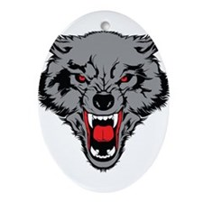 Angry Wolf Ornament (Oval)