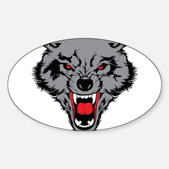 Angry Wolf Sticker (Oval)