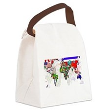 World Flag Map Canvas Lunch Bag
