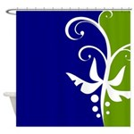 Blue and Green Floral Design Shower Curtain