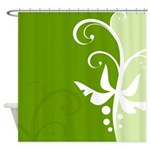Elegant Green Flower Design Shower Curtain