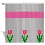 Pink Tulips and Stripes Shower Curtain