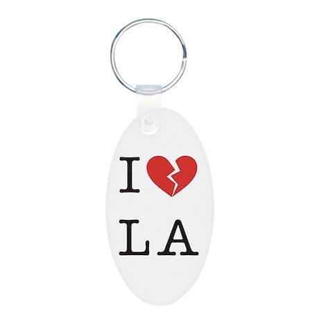 I Hate LA Aluminum Oval Keychain