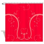 Pink Floral Heart Shower Curtain