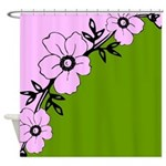Pink and Green Flower Design Shower Curtain