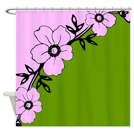 pink and green flower design shower curtain by stolenmomentsph