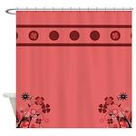 Pink Brown Floral Design Shower Curtain