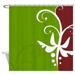 Green and Maroon Floral Shower Curtain