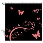 Pink Flowers and Butterflies Shower Curtain