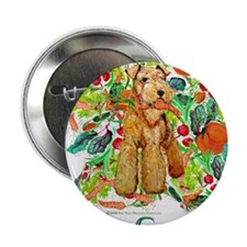 """Airedale Terriers Go Green 2.25"""" Button"""