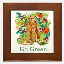 Airedale Terriers Go Green Framed Tile