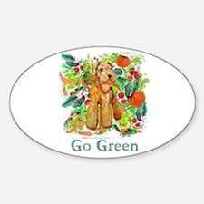 Airedale Terriers Go Green Oval Decal