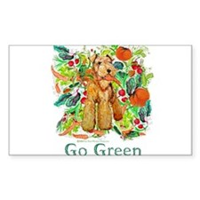 Airedale Terriers Go Green Rectangle Decal