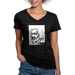 Douglass with Logo.jpg Women's V-Neck Dark T-Shirt