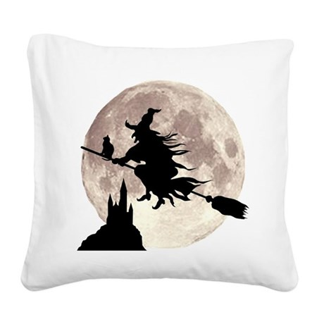 Flying Witch Moon Square Canvas Pillow