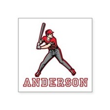 "Personalized Baseball Square Sticker 3"" x 3"""
