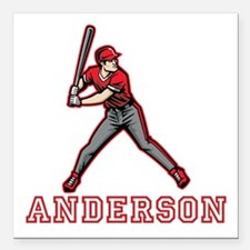 """Personalized Baseball Square Car Magnet 3"""" x 3"""""""