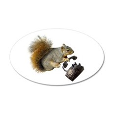 Squirrel Rotary Phone 20x12 Oval Wall Decal