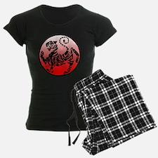 shotokan - black tiger on red and white Pajamas
