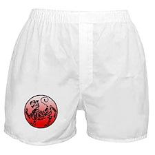 shotokan - black tiger on red and white Boxer Shor