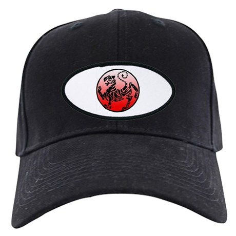 shotokan - black tiger on red and white Black Cap