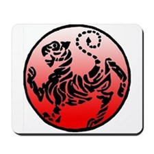 shotokan - black tiger on red and white Mousepad