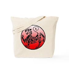 shotokan - black tiger on red and white Tote Bag