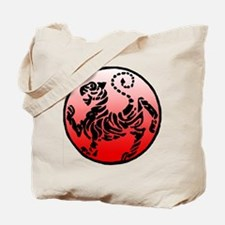 shotokan - black tiger on red and white Tote Bag