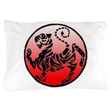 shotokan - black tiger on red and white Pillow Cas