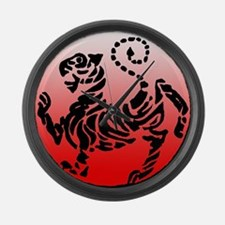 shotokan - black tiger on red and white Large Wall