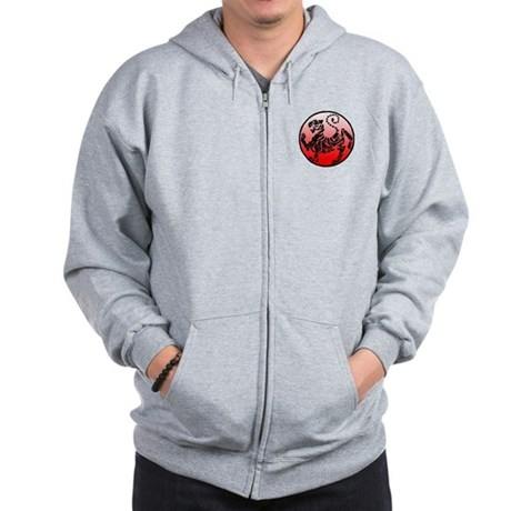 shotokan - black tiger on red and white Zip Hoodie