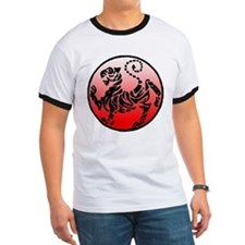 shotokan - black tiger on red and white T