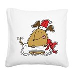 Funny Christmas Dog Square Canvas Pillow
