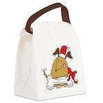 Funny Christmas Dog Canvas Lunch Bag